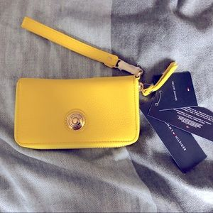 Tommy Hilfiger Yellow Pebble Leather Wristlet
